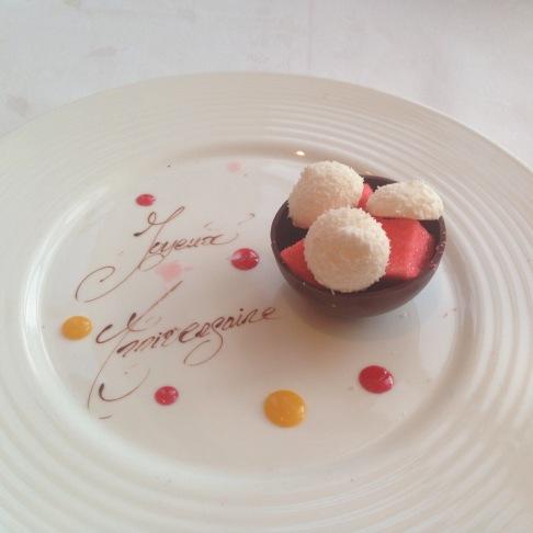 "Complementary ""Joyeux anniversary"" dessert"